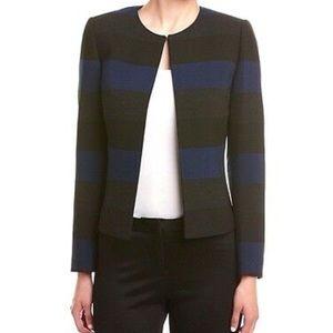 Tahari ASL Blue Black Grey Striped Blazer Sz 6